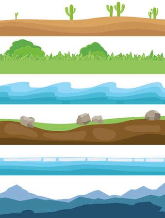 Illustration for Natural landscapes. Set of horizontal natural landscapes. Mountains, land, sea, grass, sand Vector illustration Vector - Royalty Free Image