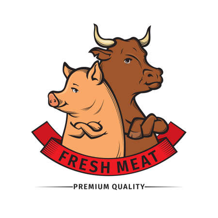 vector Illustration of butcher shop logo, meat label template with cow and pig