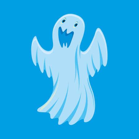 Illustration pour illustration of ghost cartoon character on blue background - image libre de droit