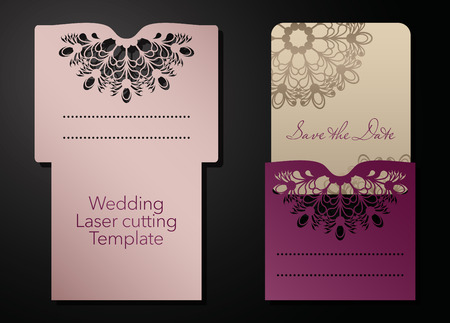 Illustration pour Laser cutting of a wedding envelope, greeting card, invitation. Radial ornament. Vector - image libre de droit