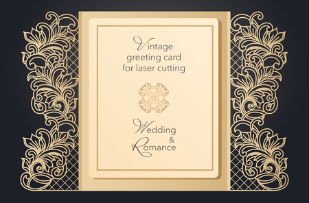 Illustration pour Foldable greeting card gate for laser cutting. Delicate pattern for a wedding, a romantic party. Carved design for menus, covers, folders for presentations - image libre de droit