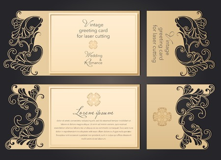 Photo pour Laser cut wedding invitation template with lace pattern in vintage style. Envelope with ornate abstract ornament for greeting card. Openwork vector silhouette - image libre de droit