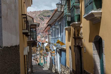 Historic street in La Paz, Bolivia