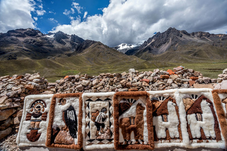 People selling rugs at La Raya market, Cusco, Peru