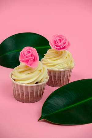 Photo for sweet cupcakes decorated with roses and tropical leaves on a pastel pink background selective focus - Royalty Free Image