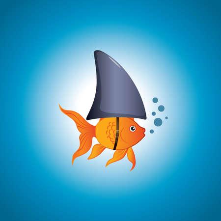Vektor für A cute little goldfish wearing a shark fin to scare predators away.  - Lizenzfreies Bild