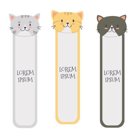 Illustration pour Cute cat bookmark set vector - image libre de droit