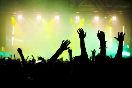 Foto de Concert crowd at rock concert - Imagen libre de derechos