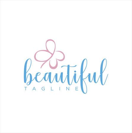 Women Beauty Butterfly Logo , Spa, Salon, Stylis shape handwriting vector .Creative Women Beauty logo Design Nature Healthy . Salon Spa Logo icon vector . Wellness Logo Design
