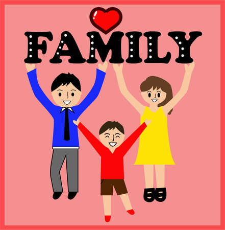 Ilustración de International family day, commemoration, parents with the word family - Imagen libre de derechos