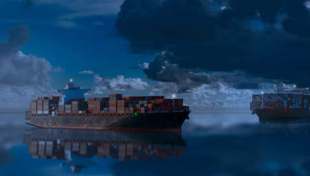 Photo pour Mighty container ships in ocean at night underway performing import and export marine cargo transportation. Commercial goods industry and maritime cargo shipment concept. - image libre de droit