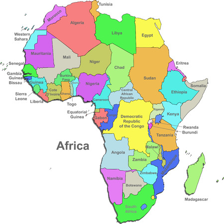 Color map of Africa with countries on a white background