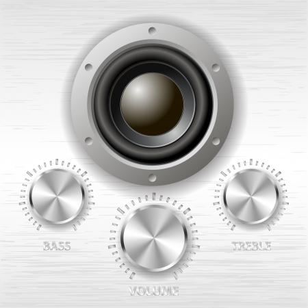 vector metal volume treble bass knobs and speaker