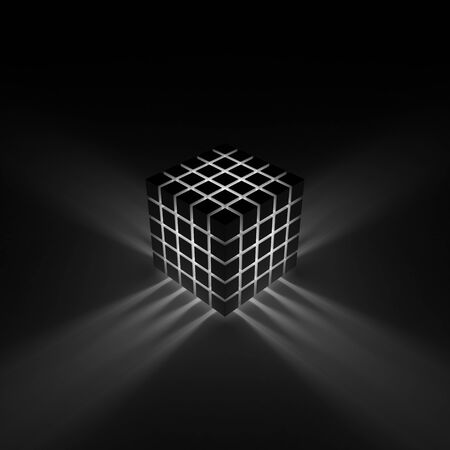 Glowing cube. Rays shining through the cracks