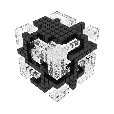 Abstract cube of cubes consist diferent materials on the white background