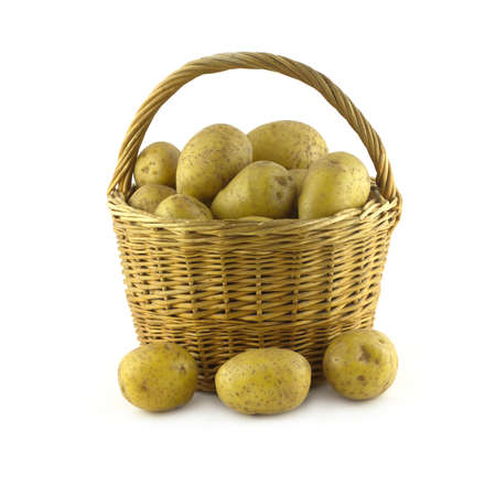 Many ripe potatoes in brown wicker basket and close isolated on white closeup