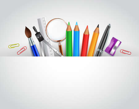 Illustration pour Back to School Background With School Items and White Space for Words - image libre de droit