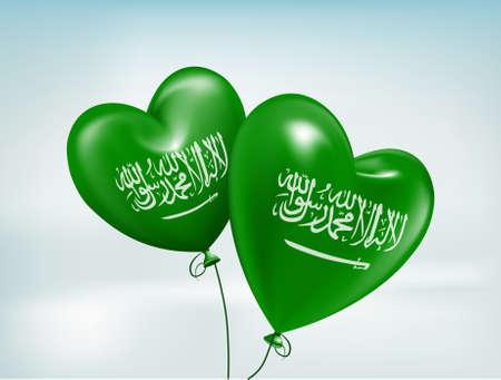 Love Saudi Arabia Hearts Balloons Flag. 3D Vector Illustration