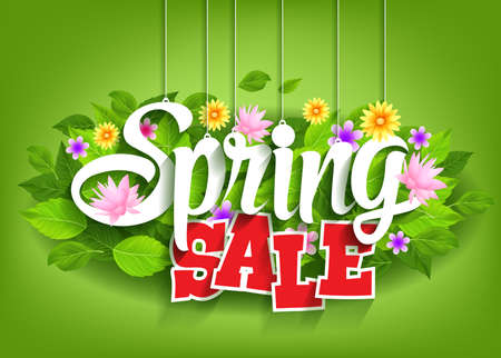 Illustration pour Spring Sale Word Hanging on Leaves with Strings. Vector Illustration - image libre de droit