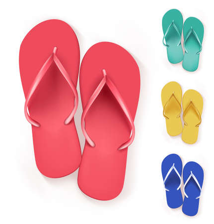 Set of Realistic Colorful Flip Flops Beach Slippers. Vector Illustration