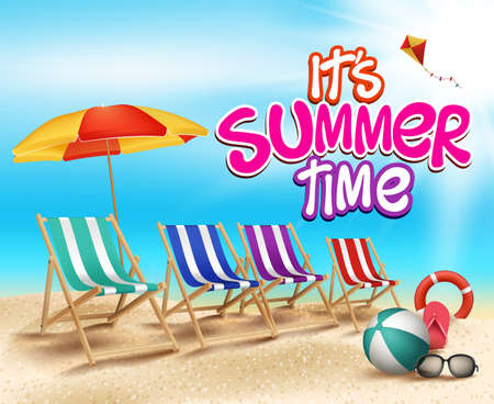 Illustration pour Summer Time in Beach Sea Shore with Realistic Objects. Vector Illustration - image libre de droit
