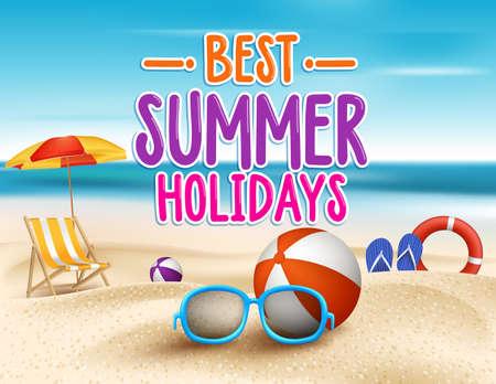 Illustration pour Summer Holidays in Beach Seashore. Vector Illustration - image libre de droit