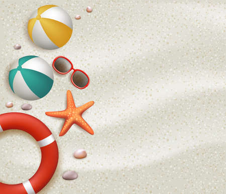 Summer Holidays Blank Background in the White Beach Sand with Ball, Lifebuoy, Sunglasses, Starfish, Stones and Corals. Vector Illustration