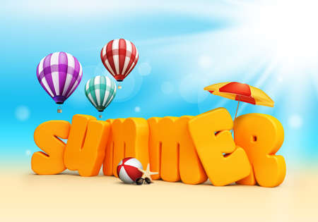 Summer 3D Dimensional Texts Standing in Beach Sand with Sky and Sun Rays Background with Flying Colorful Balloons, Umbrella, Starfish, Sunglasses and Beach Ball. Vector Illustration