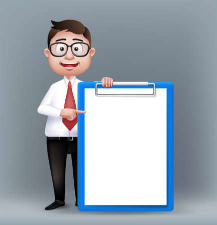 Realistic Smart Professional or Business Man Characters With Eyeglasses Holding Empty Clip Board in Long Sleeve and Necktie Isolated in White Background. Editable Vector Illustration