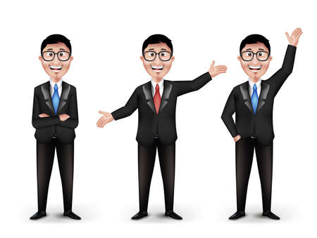 Set of Realistic Smart Different Professional and Business Man Characters With Eyeglasses in Long Sleeve and Necktie Isolated in White Background. Editable Vector Illustration