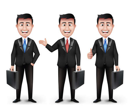 Set of Realistic Smart Different Professional and Business Man Characters Holding Briefcase in Black Suit Long Sleeve and Necktie Isolated in White Background. Editable Vector Illustration