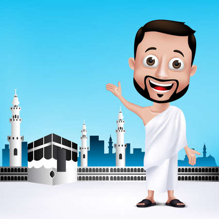 Illustration pour Realistic Muslim Man Character Wearing Ihram Cloths for Performing Hajj or Umrah Pilgrimage in Kaaba in Makkah with Black Stone in Background. Editable Vector Illustration. - image libre de droit