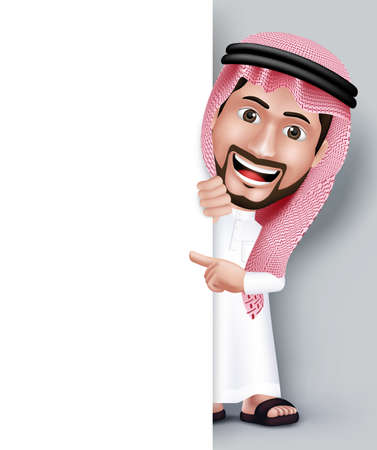 Illustration pour Realistic Smiling Handsome Saudi Arab Man Character in 3D Posing with Thobe Dress Pointing His Hand in White Blank Board for Text or Titles. Editable Vector Illustration - image libre de droit