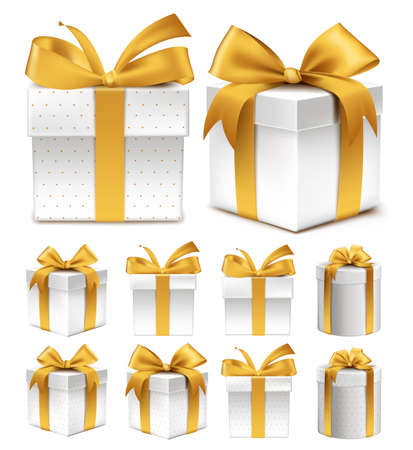 Realistic 3D Collection of Colorful Gold Pattern Gift Box with Ribbon