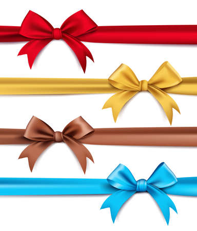 Illustration pour Set of Realistic 3D Silk or Satin Ribbons and Bow for Elements and Decorations for Valentines Day and Birthday Celebrations. Isolated Vector Illustration - image libre de droit