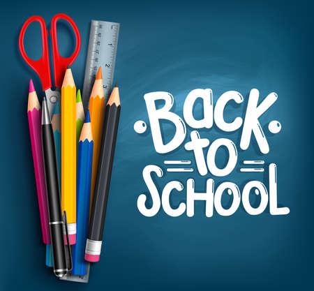 Foto de Back to School Title Words with Realistic School Items With Colored Pencils, Scissor, Pen and Ruler in a Blue Texture Background. Vector Illustration - Imagen libre de derechos