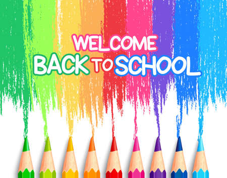 Illustration for Realistic Set of Colorful Colored Pencils or Crayons with Multicolored Brush Strokes Background in Back to School Title. Vector Illustration - Royalty Free Image