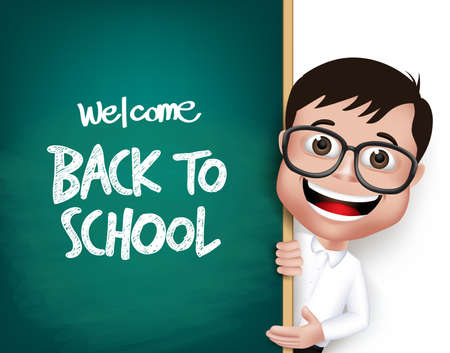 Illustration pour 3D Realistic Nerd School Boy Student with Eyeglasses Happy Smiling Holding a Blackboard With Back to School Text Written Isolated in White Background. Vector Illustration - image libre de droit