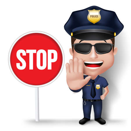 3D Realistic Friendly Police Man Character Policeman in Uniform with Stop Sign Hand for Traffic Isolated in White Background.