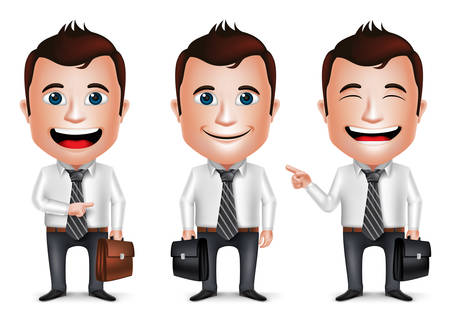 3D Realistic Businessman Cartoon Character with Different Pose Holding Briefcase for Traveling Isolated in White Background. Set of Vector Illustration.