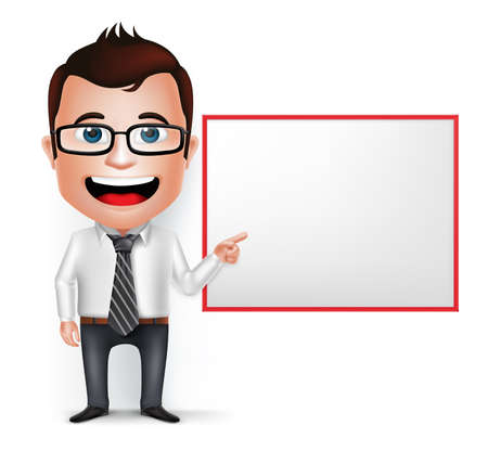 3D Realistic Businessman Cartoon Character Teaching or Showing Blank White Board Isolated in White Background. Vector Illustration.