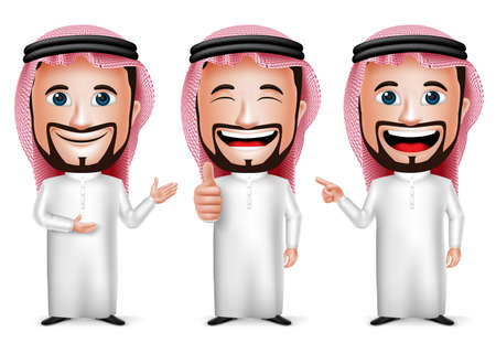 Illustration pour 3D Realistic Saudi Arab Man Cartoon Character with Different Pose and Hand Gesture Wearing Thobe Isolated in White Background. Set of Vector Illustration. - image libre de droit