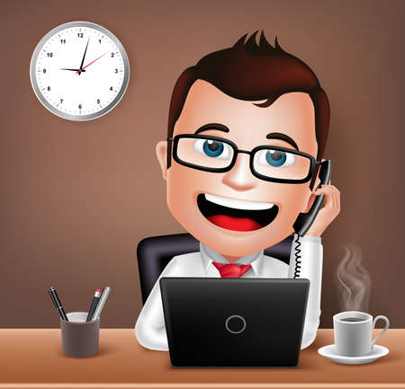 Illustration pour Realistic 3D Businessman Character Working on Office Desk Table with Laptop Talking on Telephone. Vector Illustration - image libre de droit