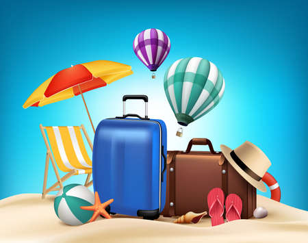 Ilustración de 3D Realistic Summer Vacation Poster Design with Bags in Beach Sea Shore. Vector Illustration - Imagen libre de derechos