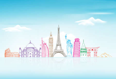 Photo for Travel and Tourism Background with Famous World Landmarks in 3d Realistic and Sketch Drawing Elements. Vector Illustration - Royalty Free Image