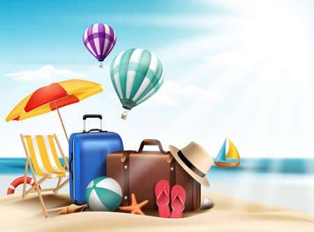 3D Realistic Summer Travel and Vacation Poster Design with Editable Beach Elements. Vector Illustration