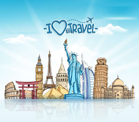 Travel and Tourism Background with Famous World Landmarks in 3d Realistic and Sketch Drawing Elements. Vector Illustration