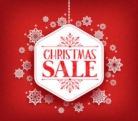 Merry Christmas Sale in Winter Snow Flakes Hanging with White Space for Text. Vector Illustration