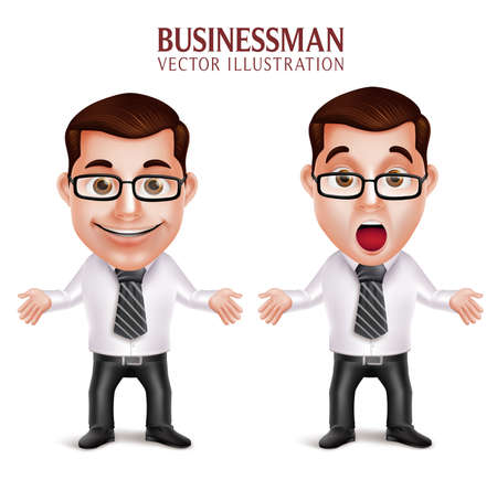 Set of 3D Realistic Professional Business Man Character Shocked and Surprised Posture Isolated in White Background. Vector Illustration