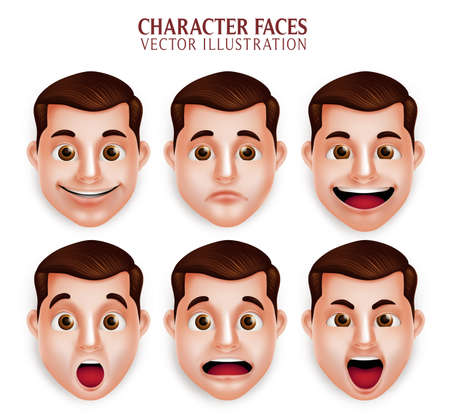 Set of 3D Realistic Handsome Man Head with Different Facial Expression Isolated in White Background. Vector Illustration